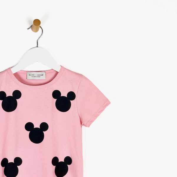 Girls pink short sleeve t-shirt disney mickey mouse ears in black