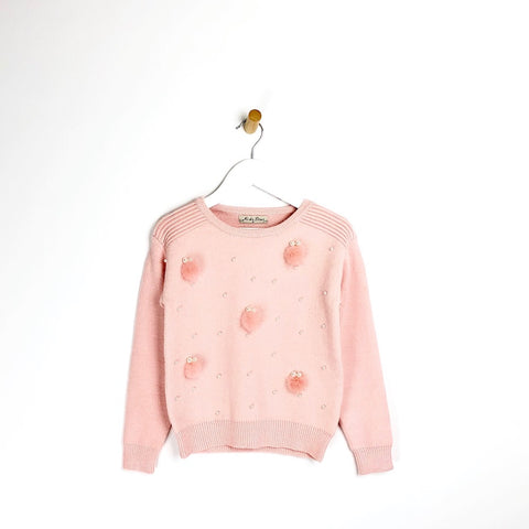 Girls pink pompom and pearl supper soft winter jumper