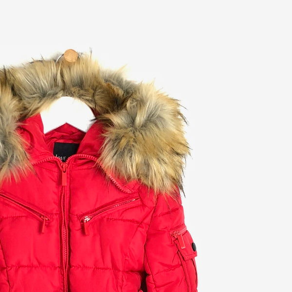 Girls red winter luxury faux fur coat with belt
