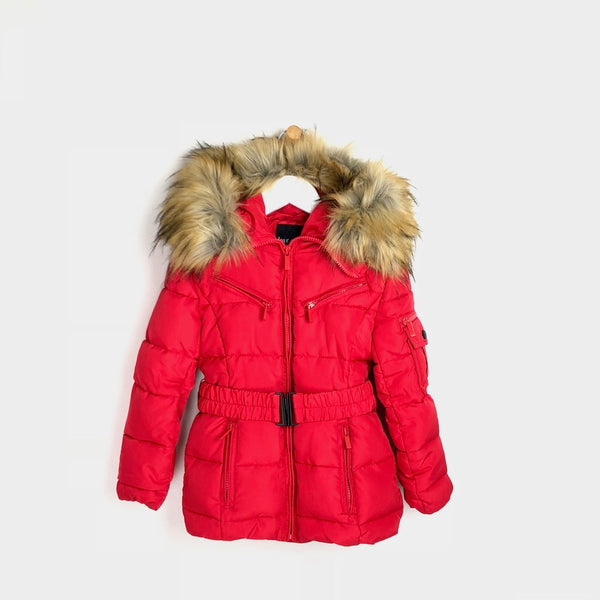 Girls red winter padded luxury faux fur coat with belt
