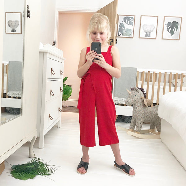 Girls red summer jumpsuit mini me fashion for trendy kids