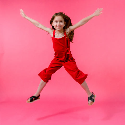 Girls red summer jumpsuit stylish trendy cool kids clothes.