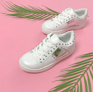 Girls silver studded white lace up trainers