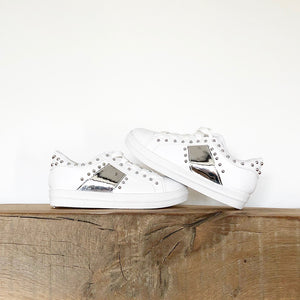 Girls white trainers with silver studs lace ups