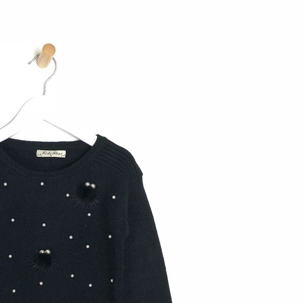 Children's Soft Winter Black Jumper with Pearls and Pom Pom's For Girls