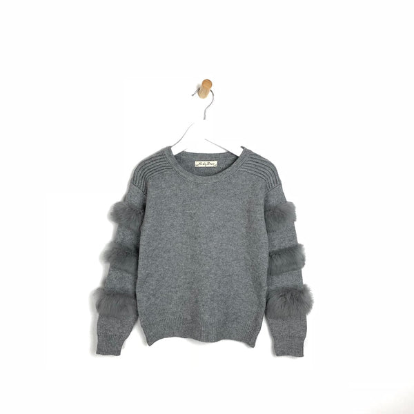 Kids Soft Fur Arm Grey Winter Jumper For Girls