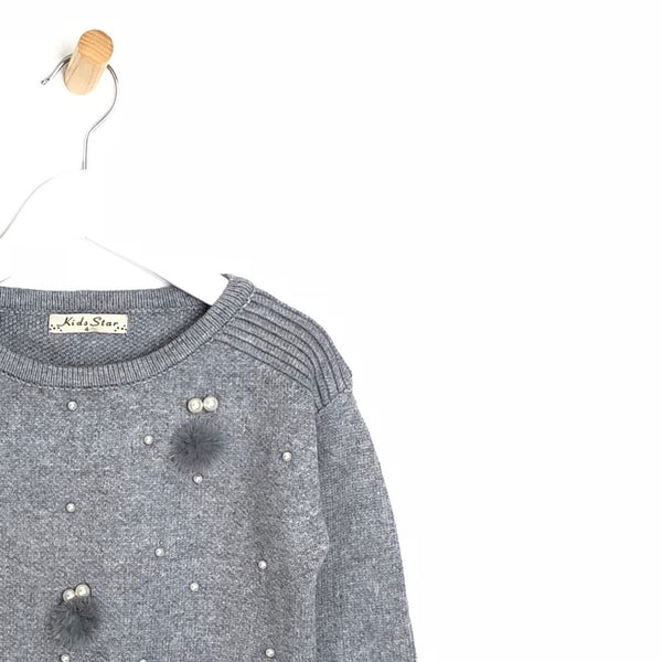 Kids Soft Winter Grey Jumper with Pearls and Pom Pom's For Girls