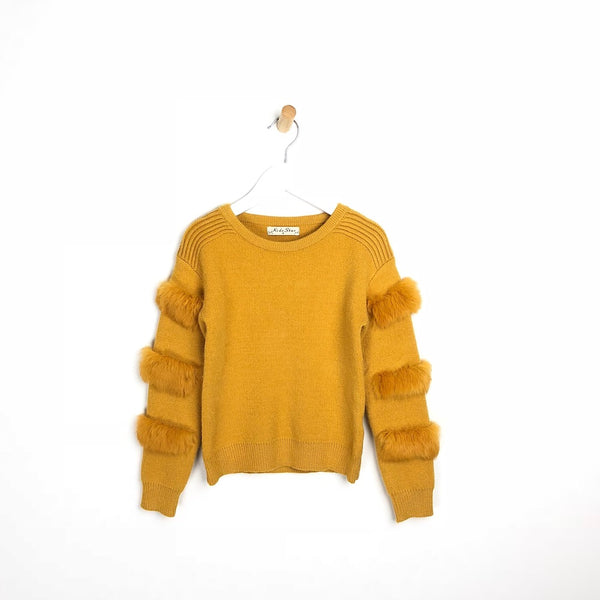 Kids Soft Fur Arm Mustard Winter Jumper For Girls