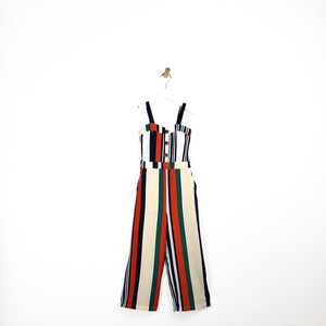Girls multi coloured stripe jumpsuit red yellow white navy for kids