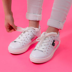 Girls studded white trainers comfy lace up stylish trendy cool kids footwear