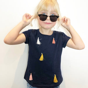 Girls tassel short sleeve t-shirt in navy blue for kids