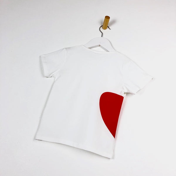 Girls white t-shirt with red heart logo for kids