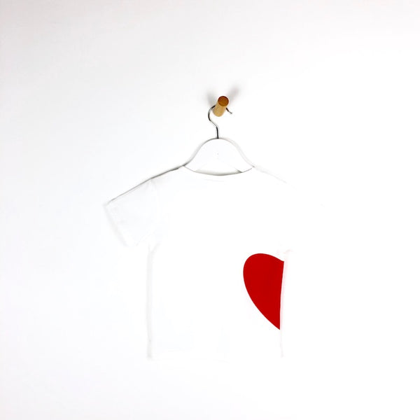 Girls white t-shirt with red heart logo for kids tee