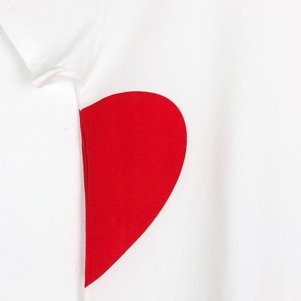 Girls white t-shirt with half red heart logo for kids