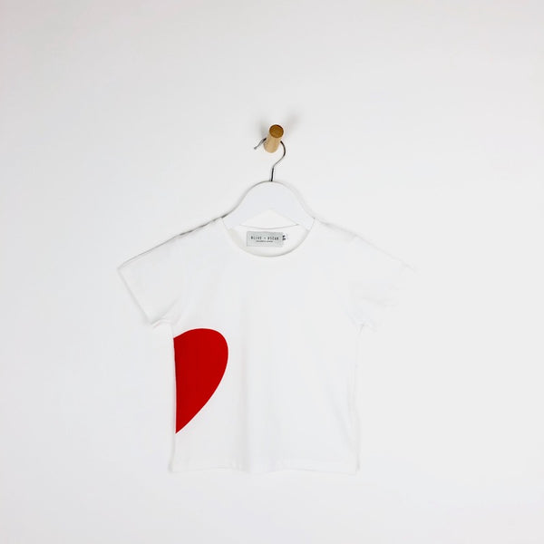 Girls white t-shirt with red heart logo for kids illusion