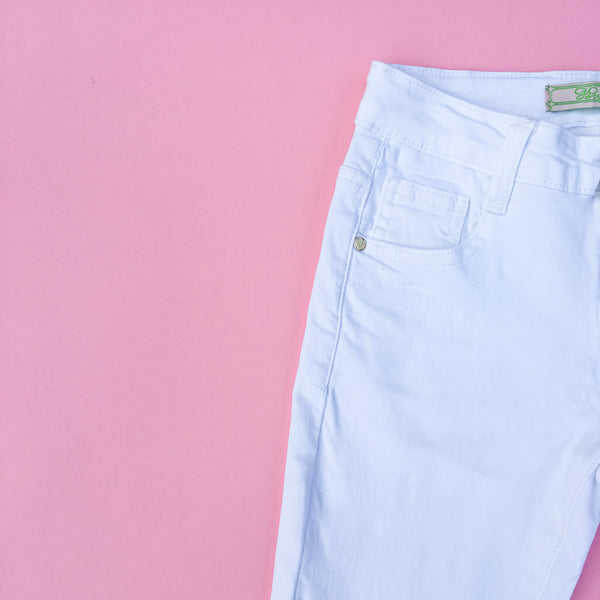 Girls white summer holiday jeans