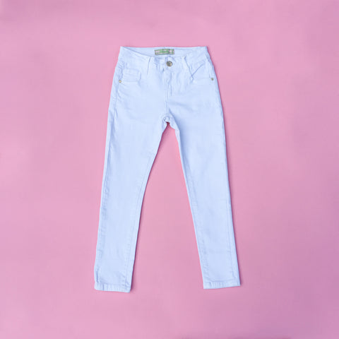 Girls kids white summer holiday jeans
