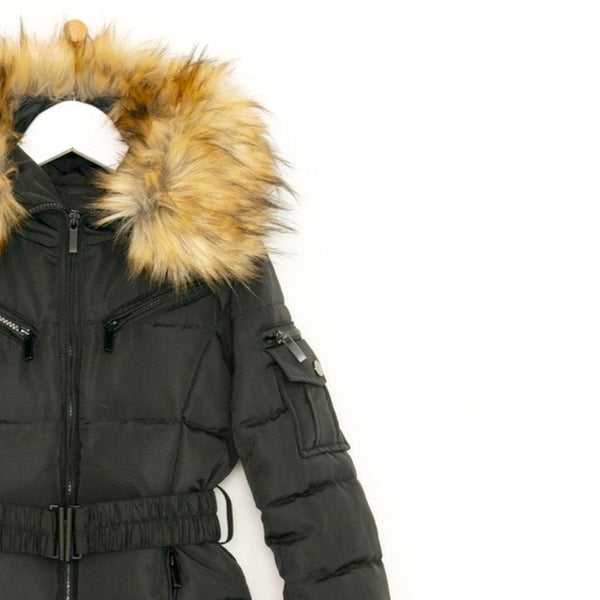 Children's belted luxury padded winter coat in black faux fur hood