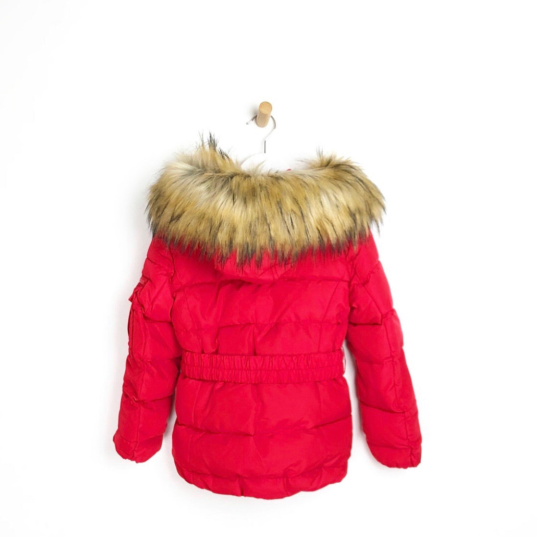 Girls red winter padded luxury faux fur hooded coat with belt
