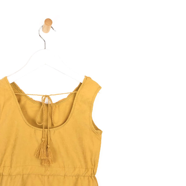 Girls mustard yellow summer holiday playsuit open back tassel tie for kids