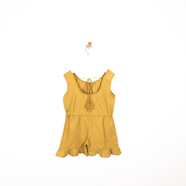 Girls mustard yellow summer holiday playsuit crochet flower hem frill shorts open back with tassel tie for kids