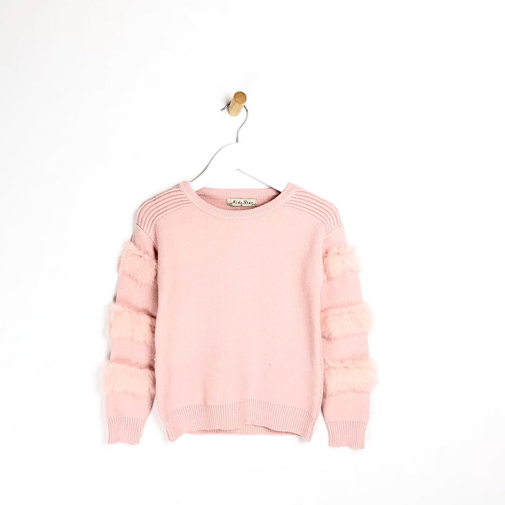 Girls pink fur arm supper soft winter jumper
