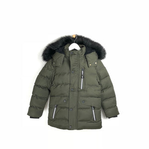 Kids quality winter faux fur hooded khaki parka for boys