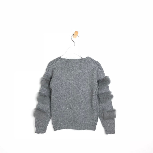 Children's Soft Fur Arm Grey Winter Jumper For Girls