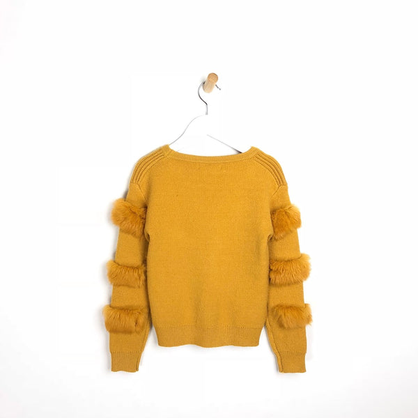 Children's Soft Fur Arm Mustard Winter Jumper For Girls