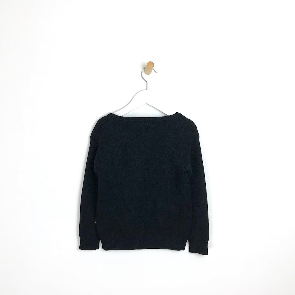 Girls Soft Winter black Jumper with Pearls and Pom Pom's