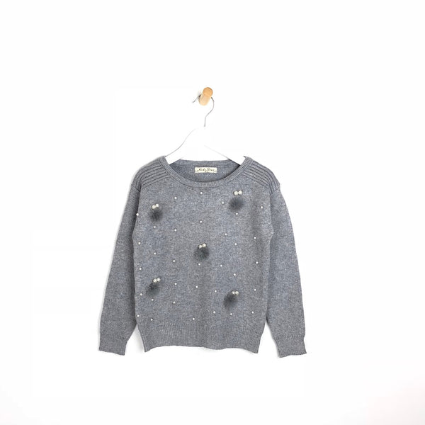 Children's supper soft winter Jumper with Pearls and Pom Pom's For Girls