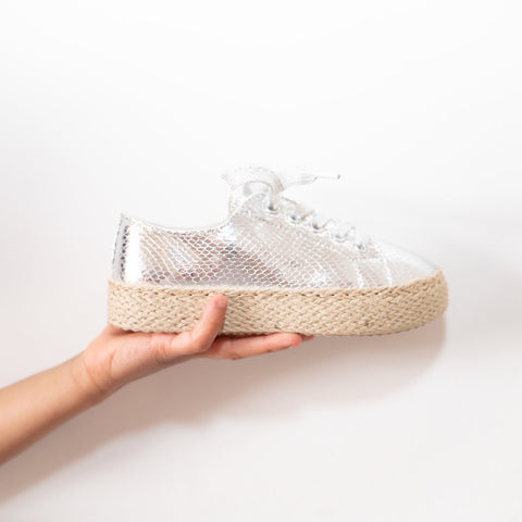 Girls kids silver espadrille flat pumps