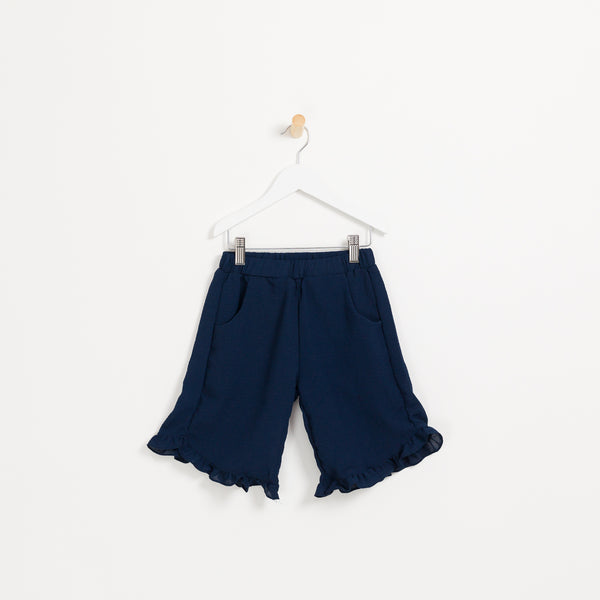Girls cute kids navy cropped crepe summer trousers with frill hem