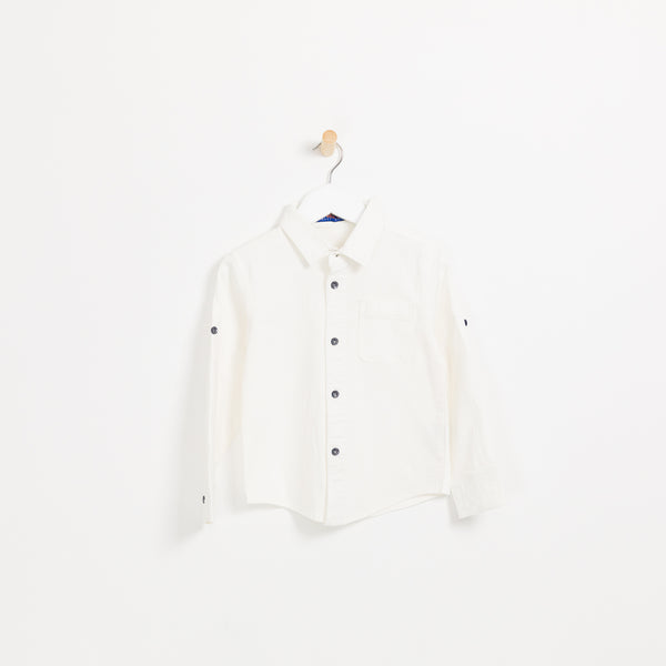Boys white cotton long sleeve shirt buttoned can be rolled