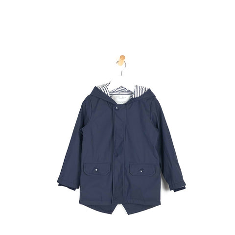 Unisex navy kids hooded rain coat mac nautical lining trendy clothing