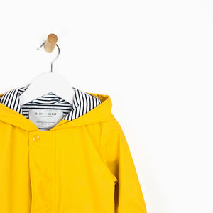 Unisex yellow hooded rain mac coat nautical lining for kids