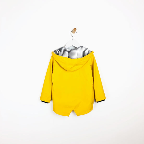 Unisex yellow hooded rain mac coat waterproof nautical lining for kids