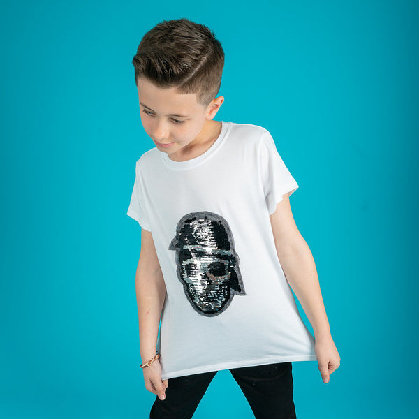 Boys sequin skull t-shirt in white