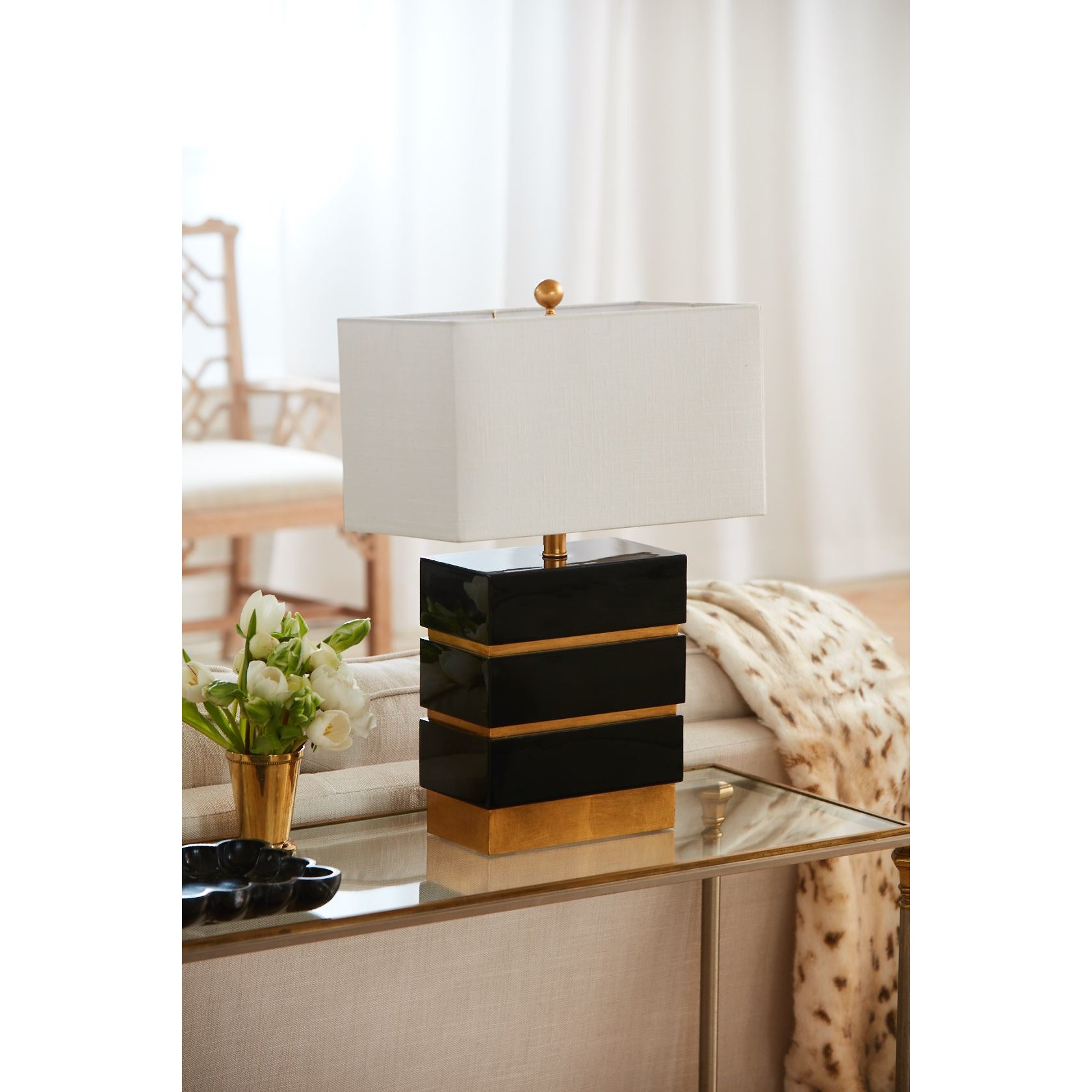 "24""H Simeon Table Lamp - Gloss Black - Couture Lamps"