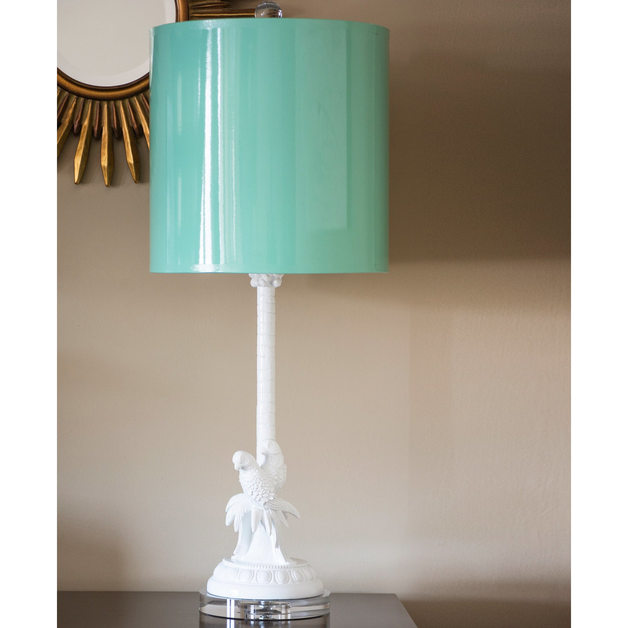 Parrot Palm Table Lamp, Wintermint - Couture Lamps