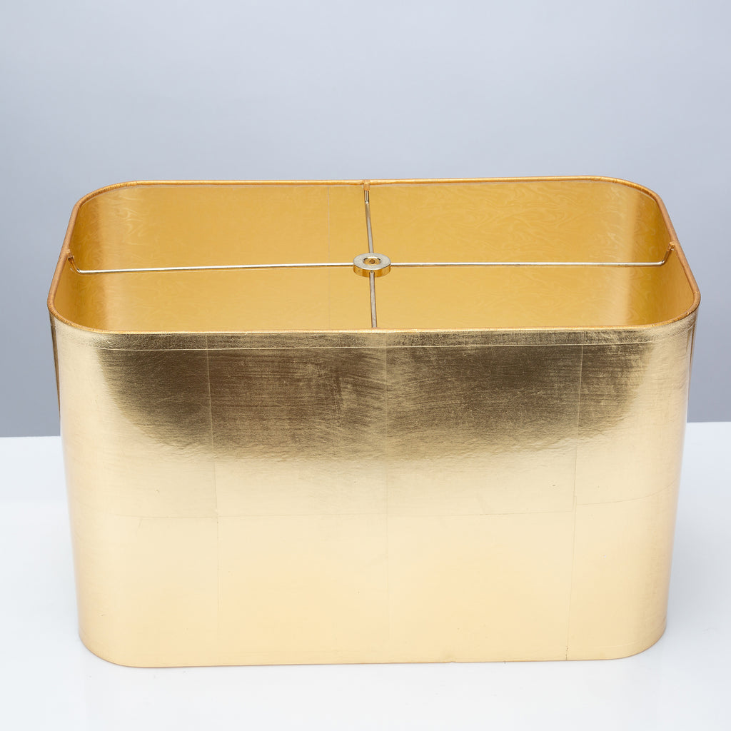 "Rectangular Gold Foil Lamp Shade 16/9 x 16/9 x 10"" - Couture Lamps"