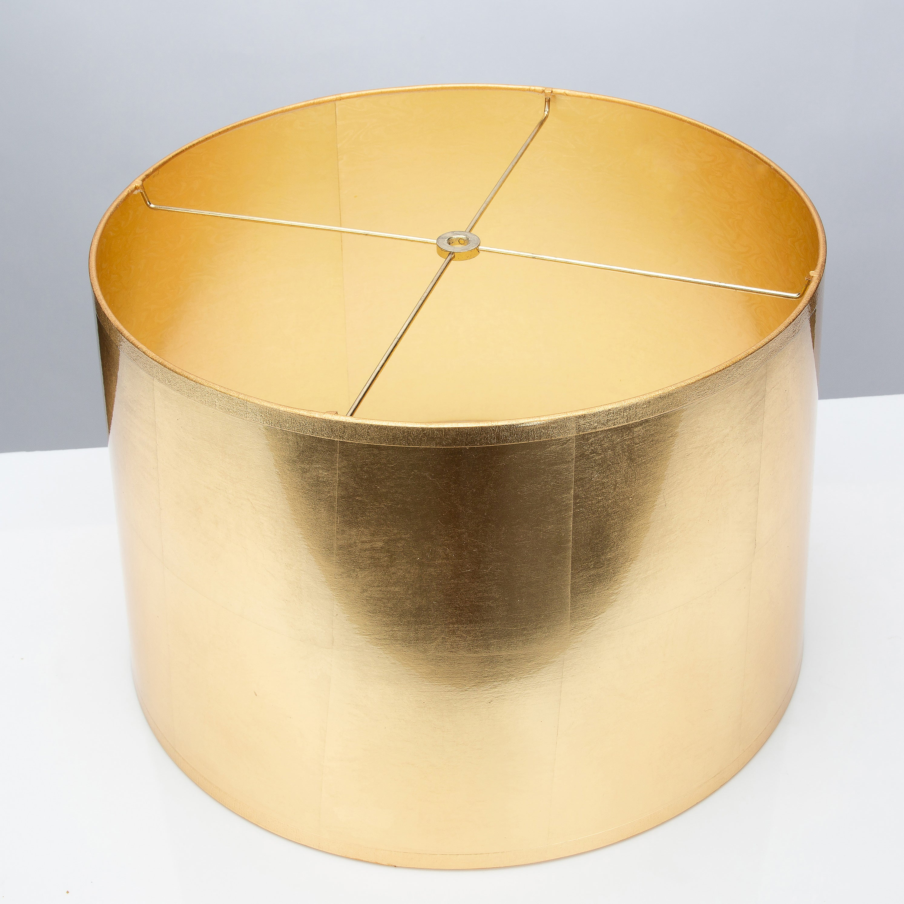 "Round Tapered Gold Foil Shade 15 x 16 x 10"" - Couture Lamps"