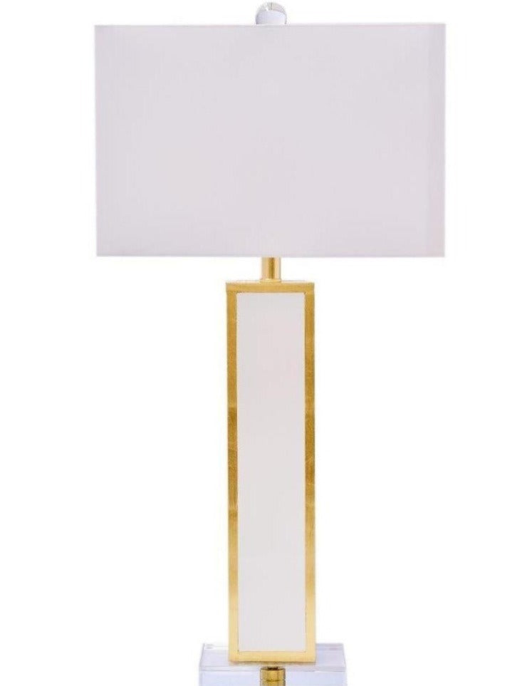Blair Glossy White Lacquer and Gold Leaf Table Lamp - Couture Lamps