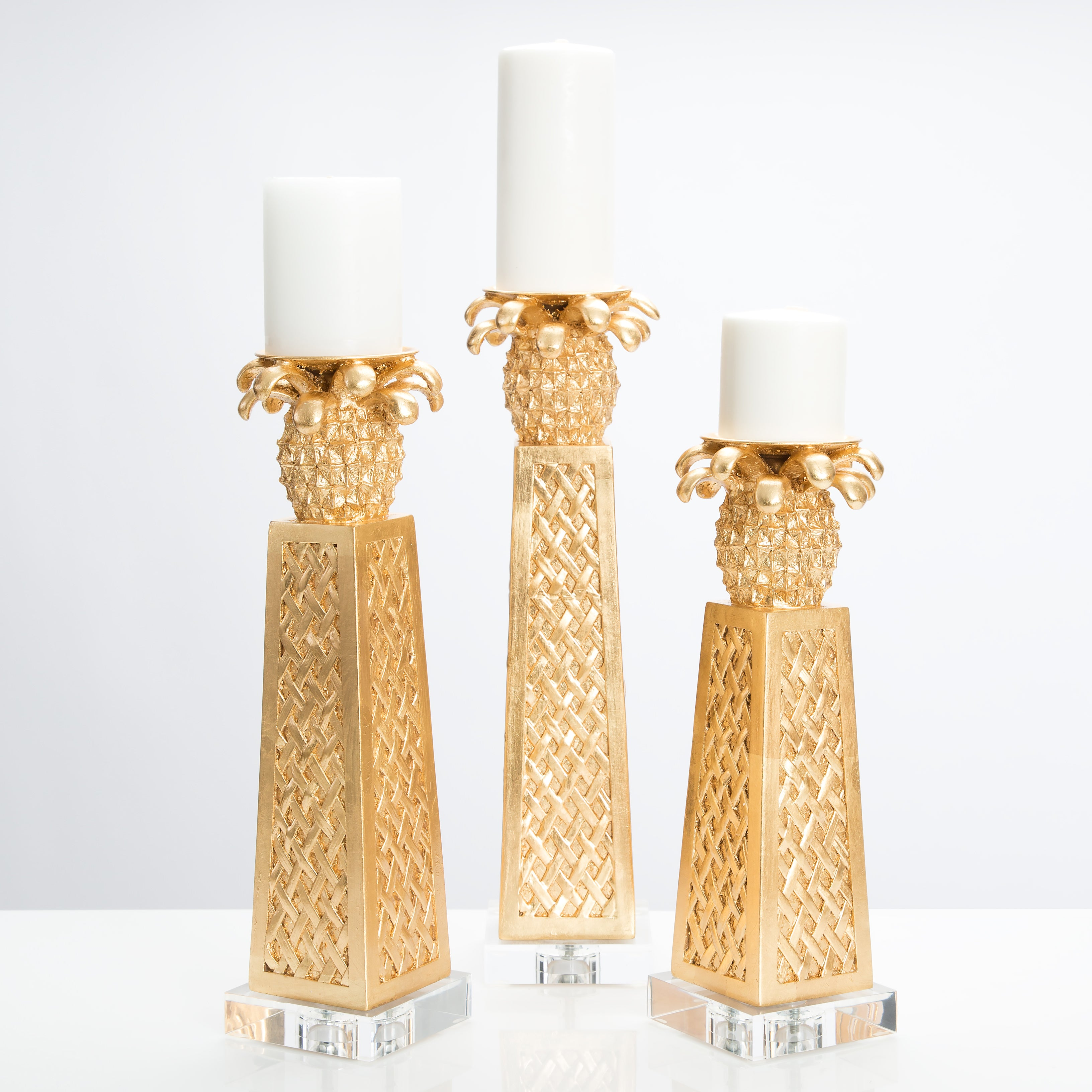 Golden Pineapple Candleholders [Set of 3] - Couture Lamps