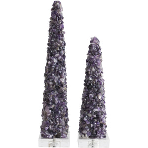 Cienega Purple Quartz Obelisks [Set of 2] - Couture Lamps