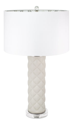 Lenora Light Gray Geometric Ceramic Table Lamp - Couture Lamps