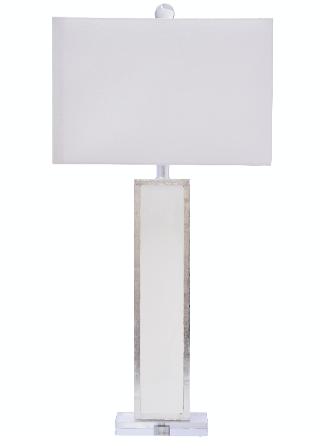 Blair Table Lamp, White/Silver - Couture Lamps