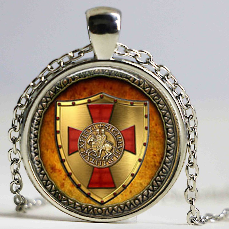 Knights Templar Pendant Necklace Glass Handmade Jewelry - Free Shipping Worldwide