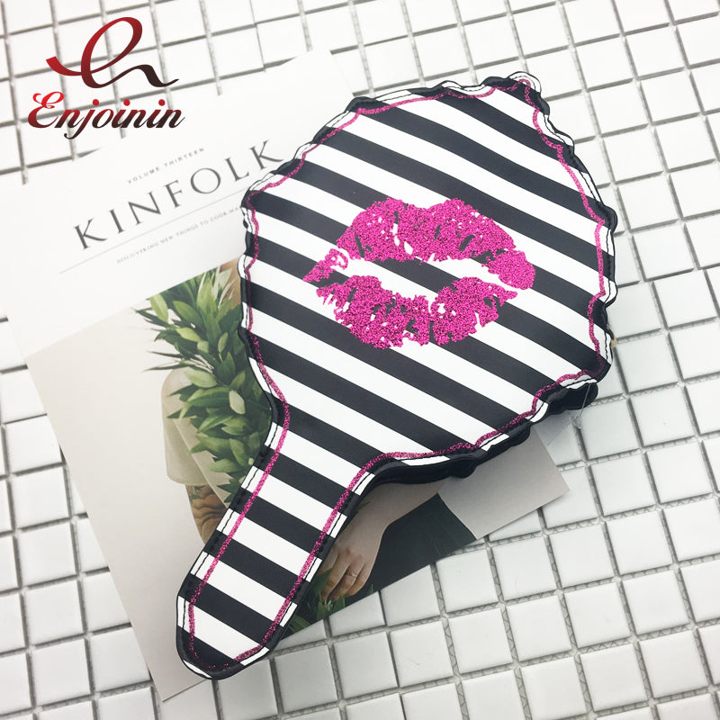 Handbag & Mirror Combo Sexy Lips Kiss Design in Satin - Free Shipping Worldwide
