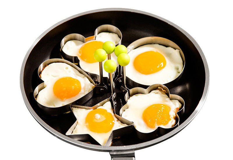 5 Piece Set of Stainless Steel Fun Shaped Egg & Pancake Molds - Free Shipping Worldwide